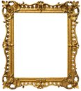 Ornate baroque gold frame vintage picture isolated on a white background Royalty Free Stock Image