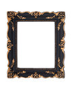 Ornate black and golden baroque frame isolated on the white back