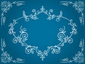 Ornate blue cartouche with filigree frame ornament design elements an calligraphic blank over a gradient background Royalty Free Stock Photo