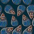 Ornate blue flower seamless pattern Royalty Free Stock Photo
