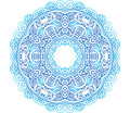 Ornate blue lacy vector circle pattern this is file of eps format Stock Images