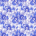 Ornate blue and white floral seamless pattern vector Royalty Free Stock Images