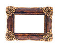 Ornate brown and golden baroque frame isolated on the white back Royalty Free Stock Photo