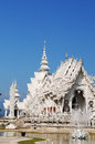 Ornate buddhist temple wat rong khun a beautiful in chiang rai northern thailand Stock Images