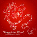 Ornate chinese New Year of stylized Dragon card Royalty Free Stock Photography