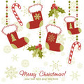 Ornate Christmas card with stocking Stock Photography