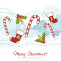 Ornate Christmas card with xmas stocking Royalty Free Stock Image