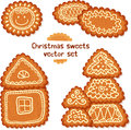 Ornate christmas sweets vector set realistic gingerbread Stock Image