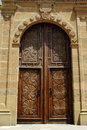 Ornate church door, Estepona. Royalty Free Stock Photo