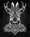 Ornate decorative jacalope magical creature art.