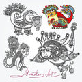 Ornate doodle fantasy monster personage original modern cute collection karakoko style Royalty Free Stock Photos