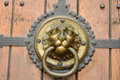 Ornate doorhandle depicting lion portrait on brown wooden door of Thomaskirche in Leipzig. Royalty Free Stock Photo