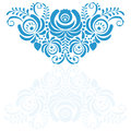 Ornate elegant vector floral frame in Gzhel style Royalty Free Stock Photo
