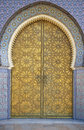 Ornate entrance gates to royal palace fes morocco Royalty Free Stock Images