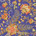 Ornate fantasy flowers seamless paisley pattern. Floral ornament on dark background for fabric, textile, cards, wrapping