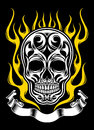 Ornate flame skull tattoo fully editable vector illustration of on isolated black background image suitable for design elements Stock Photos
