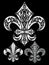 Ornate fleur de lis vector set fully illustration eps of symbol on isolated black background image suitable for design elements Stock Photos