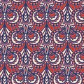 Ornate floral paisley damask seamless pattern. All over print symmetry vector background. Boho ethnic ornamental