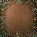 Ornate frame copper patina concept art flourish Stock Images