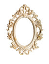 Ornate frame isolated oval vintage over white background Stock Images