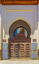 Ornate gate in the medina of fes morocco cedar carved decorated with mosaic Stock Images