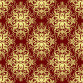 Ornate gold floral ornamental Pattern on red. Royalty Free Stock Photo