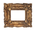 Ornate golden baroque frame isolated on the white background Royalty Free Stock Photo