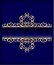 Ornate golden frame on blue background Royalty Free Stock Photography