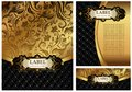 Ornate golden menu cover set of vintage gold and black luxury decorative envelope and certificate Royalty Free Stock Photography