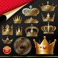Ornate golden royal crowns Stock Images