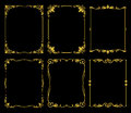 Ornate golden vector frames set over black background Royalty Free Stock Photo