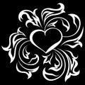 Ornate heart 1 (on black) Stock Photos