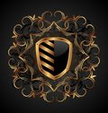 Ornate heraldic shield Royalty Free Stock Photo
