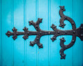 Ornate Hinge On Blue Church Door Royalty Free Stock Photo