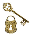 Ornate key and lock an skeleton a face on a white background Stock Photography