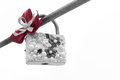 Ornate Lovers Padlock with Pearls and Red Ribbon Royalty Free Stock Photo