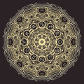 Ornate mandala and zodiac circle with horoscope signs on black background. Royalty Free Stock Photo