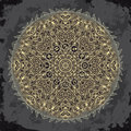 Ornate mandala and zodiac circle with horoscope signs on dark grunge background. Royalty Free Stock Photo