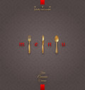 Ornate menu with golden cutlery cover Stock Images