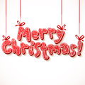 Ornate merry christmas vector red sign with ribbons Royalty Free Stock Photography