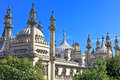 Ornate onion domes and minarets of Brighton regency palace the Royal Pavillion in East Sussex, England Royalty Free Stock Photo
