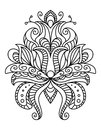 Ornate paisley floral element in a black and white line drawing with swirls and curlicues Stock Photography
