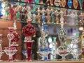 Ornate perfume bottles on a shelf Royalty Free Stock Photo