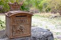 Ornate Rusty Outdoor Mailbox Royalty Free Stock Photography