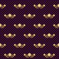 Hand drawn vector abstract creative seamless pattern with tiger face illustration,golden foil and polka dots texture