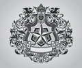 Ornate shield crest design Royalty Free Stock Photo