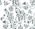 Ornate Silver Flower Background Pattern Vector Royalty Free Stock Photo
