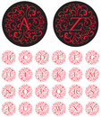 Ornate swash alphabet elegant drop cap vector letters in circular patterns Stock Photography