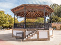 Ornate traditional bandstand in Plaza de Espana, Ayamonte, Huelva, Andalucia.