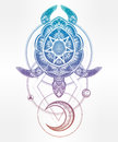 Ornate turtle in tattoo style with moon. Royalty Free Stock Photo